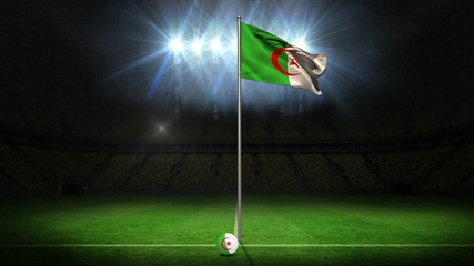 Algeria national flag waving on flagpole
