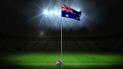 Australia national flag waving on flagpole