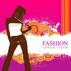 Elegant fashion model with retro grunge background