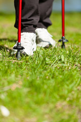 Nordic walking. Female legs hiking in the park.