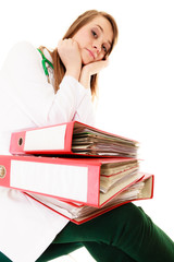 Paperwork. Overworked doctor woman with documents