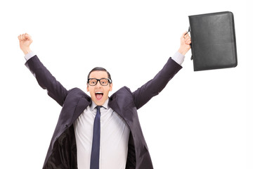 Overjoyed businessman