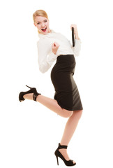 Happy businesswoman with success hand gesture