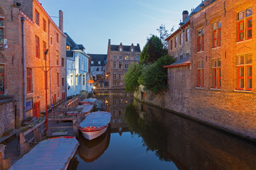 Bruges - Look to canal form bridge on Blinge Ezelstraat at dusk
