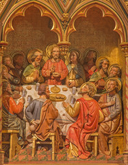 Bruges -  Last supper of Christ. Carving in Giliskerk