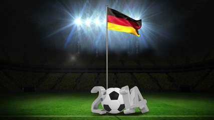 Germany national flag waving on flagpole with 2014 message