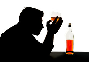 alcoholic man with whiskey glass alcohol addiction silhouette
