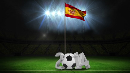 Spain national flag waving on flagpole with 2014 message