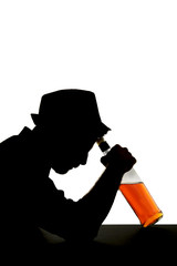 alcoholic man with whiskey bottle alcohol abuse silhouette