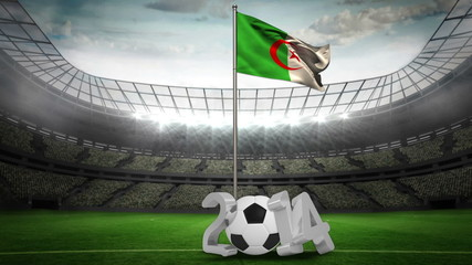 Algeria national flag waving on flagpole with 2014 message