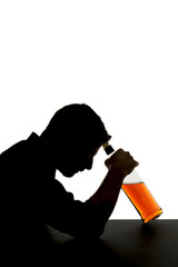 alcoholic man with whiskey bottle alcohol addiction silhouette