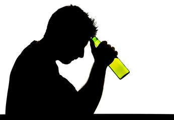 silhouette of alcoholic man and beer bottle in alcohol addiction