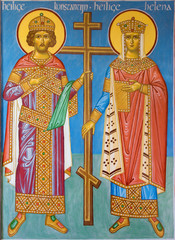 Bruges - Fresco of st. Constantine and st. Helena