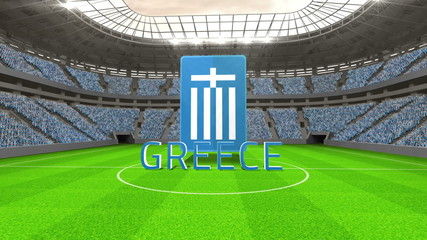 Greece world cup message with badge and text