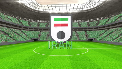 Iran world cup message with badge and text