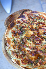 Sardinian galette with bacon and herbs
