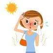 女性 UV 日焼け イラスト