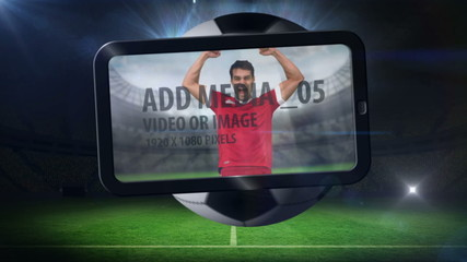 World cup animation with tablet screen showing player