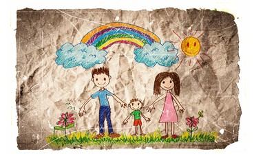 Children's drawings idea design on crumpled paper