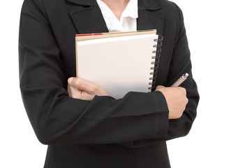 business woman hold book