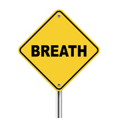 3d illustration of yellow roadsign of breath