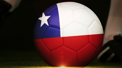 Football player kicking chile flag ball