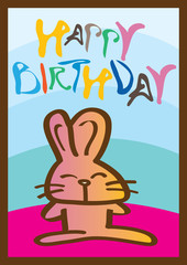 Happy birthday card with rabbit