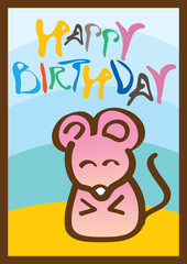 Happy birthday card with mouse