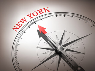 abstract compass needle pointing the destination New York