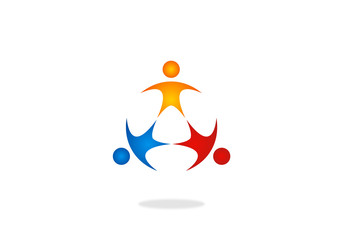 three people kids in circle logo