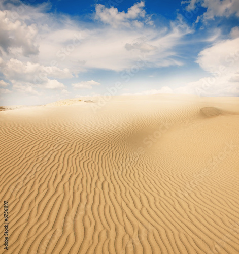 canvas print picture Beautiful sand dunes in the Sahara desert, Tunisia