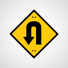 return symbol yellow road sign