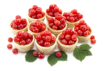 Desset with cherries isolated