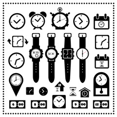 watch and time icons set