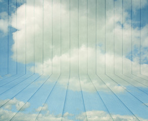 Wood texture background on blue sky