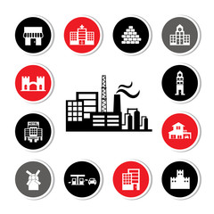 industrial factory and buildings icon set
