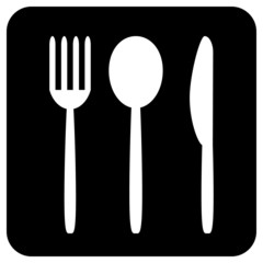 Fork, spoon and knife button