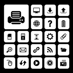 printer and technology icon set