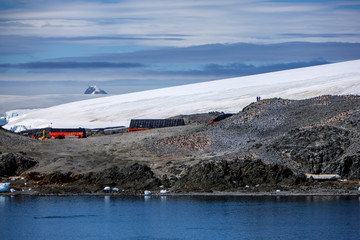 Two men in Antarctica research base station
