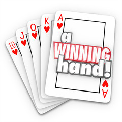 A Winning Hand Royal Flush Playing Cards Words