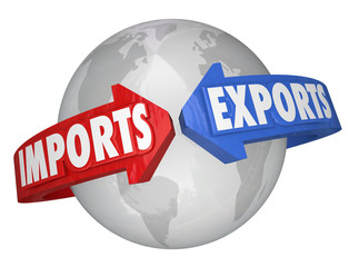 Imports Exports Arrows Around World Global International Busines