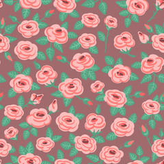 Seamless pattern of roses.