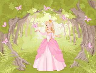 fototapeta księżnicza w zaczarowanym lesie