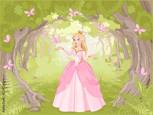 Fototapeta Strolling princess in the fantastic wood