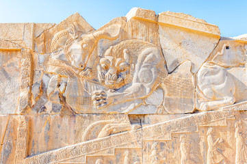 The bas-relief of Persepolis in north Shiraz, Iran