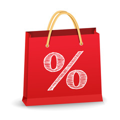 Shopping Bag with Percent Sign