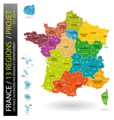 France / Projet à 13 régions (carte modifiable)