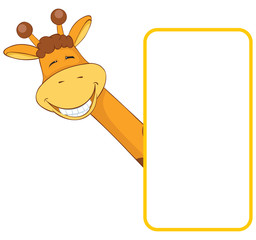 Giraffe. Baby animal banner
