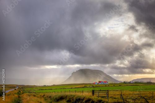 canvas print picture Storm over farm