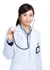 Asian woman doctor hold with stethoscope